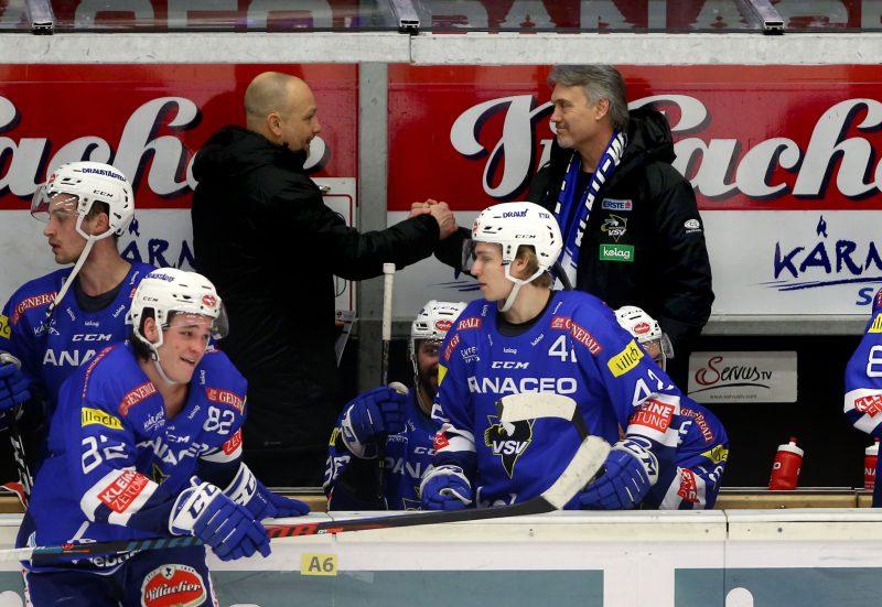 EBEL. Eishockey Bundesliga. EC VSV gegen EHC Liwest Black Wings Linz. Trainer Gerhard Unterluggauer, Co-Trainer Ken Strong (VSV). Villach, am 14.2.2019.Foto: Kuess