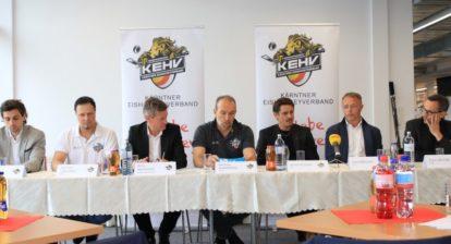Florian Muehlstein, Michael Herzog-Loeschnig, Arno Arthofer, Michael Kummerer, Oliver Pilloni, Gerd Bacher, Franz Wilfan, Pressekonferenz , KEHV und OEHV at VIP KAC, Klagenfurt on 10 April  2019. Photo: Ernst Krawagner