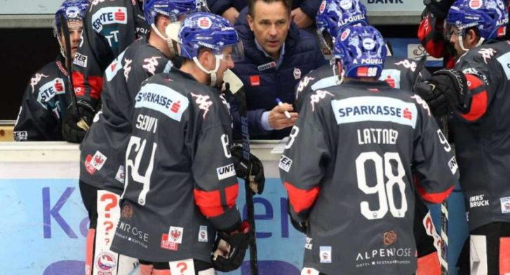 EBEL. Eishockey Bundesliga. EC VSV gegen HC TWK Innsbruck.  Trainer Rob Palin  (Innsbruck). Villach, am 3.12.2019.Foto: Kuesswww.qspictures.net
