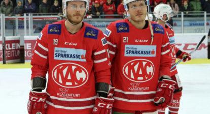 EBEL. Eishockey Bundesliga. KAC gegenspusu Vienna Capitals. Stefan Geier, Manuel Geier (KAC). Klagenfurt, am 2.2.2020.Foto: Kuesswww.qspictures.net
