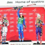 29.12.2017, Hochstein, Lienz, AUT, FIS Weltcup Ski Alpin, Lienz, Riesenslalom, Damen, Siegerehrung, im Bild Viktoria Rebensburg (GER, 2. Platz), Siegerin Federica Brignone (ITA) und Mikaela Shiffrin (USA, 3. Platz) // 2nd placed Viktoria Rebensburg of Germany Winner Federica Brignone of Italy and 3rd placed Mikaela Shiffrin of the USA during the winner ceremony for the ladie's Giant Slalom of FIS Ski Alpine World Cup at the Hochstein in Lienz, Austria on 2017/12/29. EXPA Pictures © 2017, PhotoCredit: EXPA/ Michael Gruber