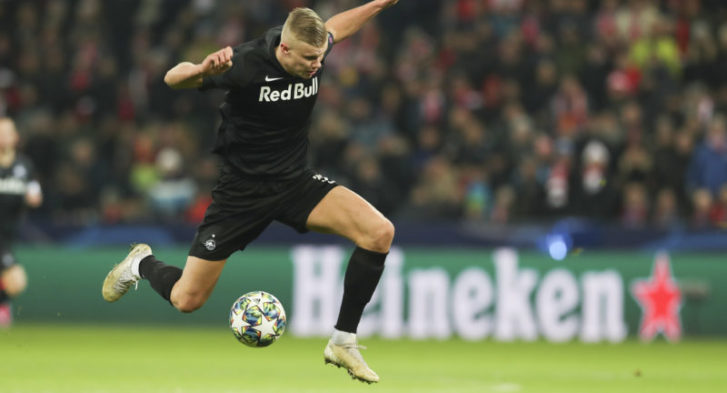SALZBURG,AUSTRIA,10.DEC.19 - SOCCER - UEFA Champions League, group stage, Red Bull Salzburg vs Liverpool FC. Image shows Erling Haaland (RBS). Photo: GEPA pictures/ Patrick Steiner - For editorial use only. Image is free of charge.
